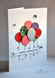 Clearly Besotted Challenge #3 - Colour Inspiration. Die-cut balloons and a few sequins. © Candles in the Garden