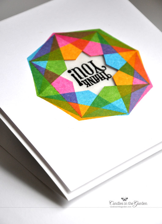 Moxie Fab World Trendy Triangles Challenge using a hand-carved rubber stamp and Distress Inks. ©Candles in the Garden