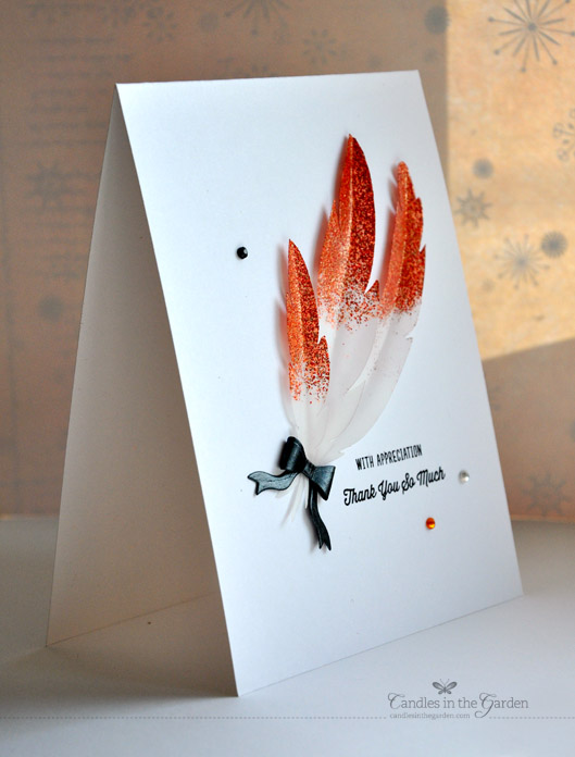@SimonSaysStamp and Curtain Call challenges. Die-cut feathers and partial heat embossing. ©Candles in the Garden