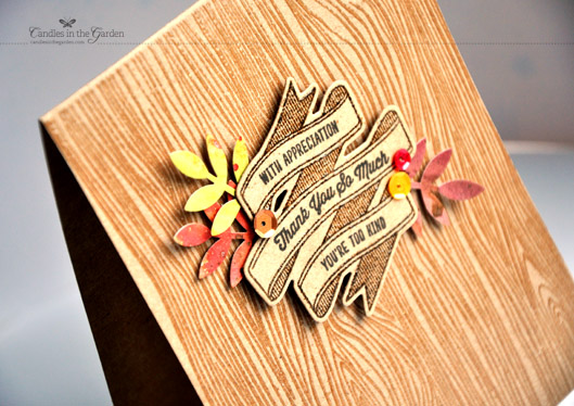 CAS-ual Fridays CFC115 Challenge - Fall Colours and leaves. Hero Arts Woodgrain stamp and WPlus9 Sentiment stamps. ©Candles in the Garden