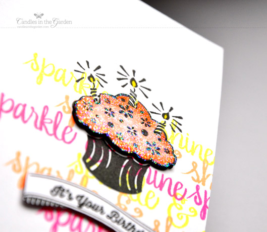 Little Tangles Challenge 19. Neon stamping and paper pieced cupcake, with a sentiment from WPlus9. ©Candles in the Garden