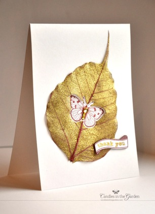 Moxie Fab World All that Glitters is Gold Challenge. Butterfly die cut out of Gold heat embossed skeleton leaf. ©Candles in the Garden