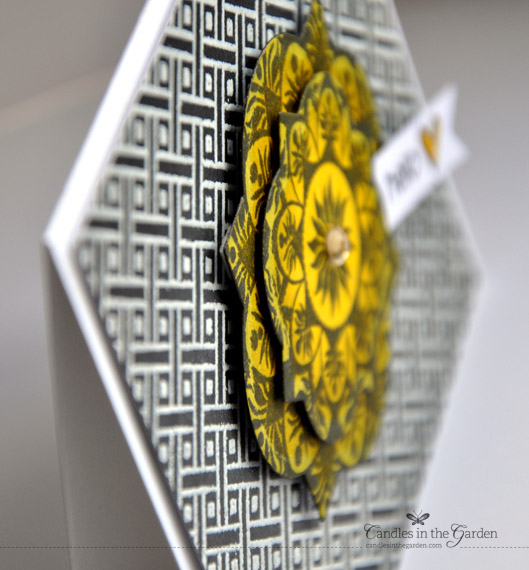 Runway Inspired Challenge 43. Lattice Background stamp, Distress Inks and a yellow glossy accent heart. ©Candles in the Garden