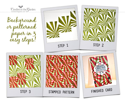 ©Candles in the Garden. Little Tangles Challenge 22, Create your own pattern paper. Sunburst stamp repeat stamped using Distress Inks. Sentiment from My Favorite Things.