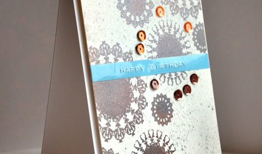 ©Candles in the Garden. CAS-ual Fridays CFC121 Create with 8 - 8 sequins, 8 stamped doilies. Perfect Pearls.
