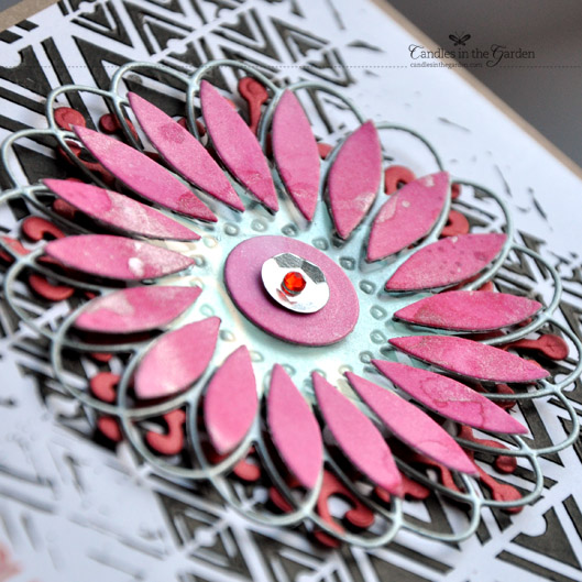 ©Candles in the Garden. CASE Study Challenge 167. Embossing paste and Balzer Designs Stencil.