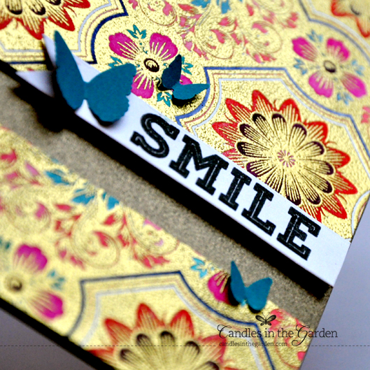 ©Candles in the Garden. Gold heat embossed background stamp from Impression Obsession, coloured with Distress Inks