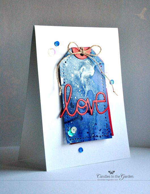 ©Candles in the Garden. RIC 51 - Distress Inks, die-cut sentiment and sequins.