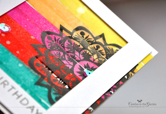 ©Candles in the Garden. RIC 52 - Distress Inks swiped onto vellum strips and mounted onto card base.