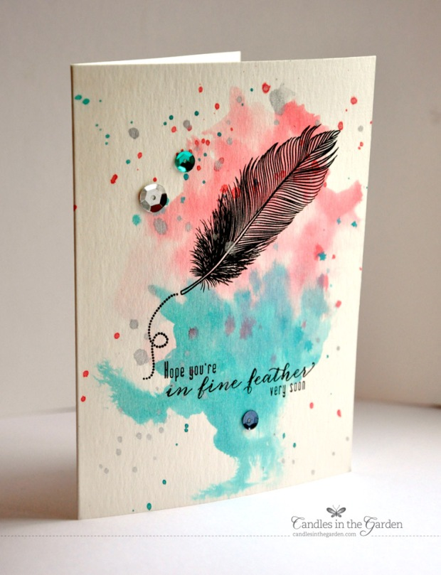 ©Candles in the Garden. One stamp set, three ways Ep2. Waltzingmouse Stamps Fine Feathers.