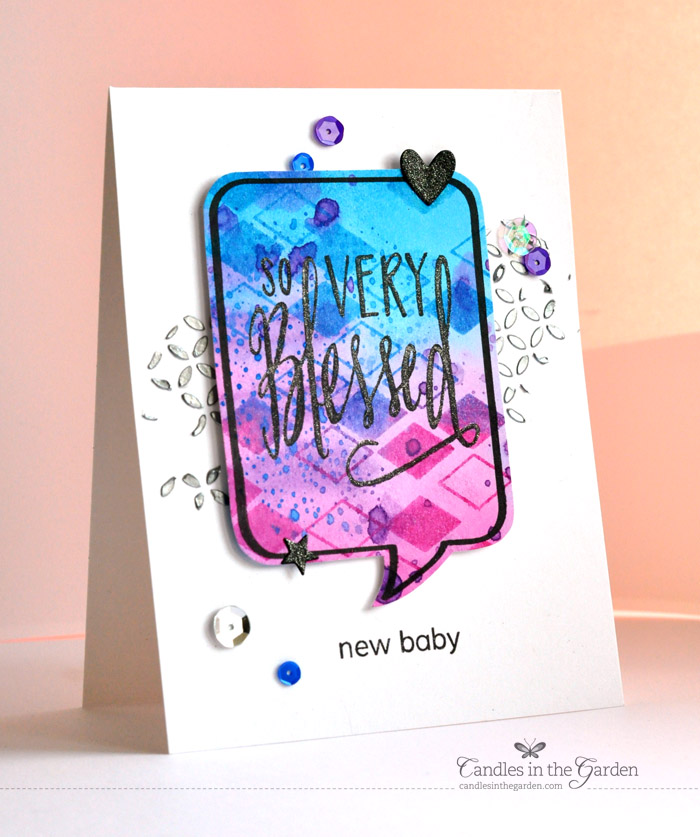 © Candles in the Garden. Baby Blog Hop for Danielle. Neat and Tangled stamps.