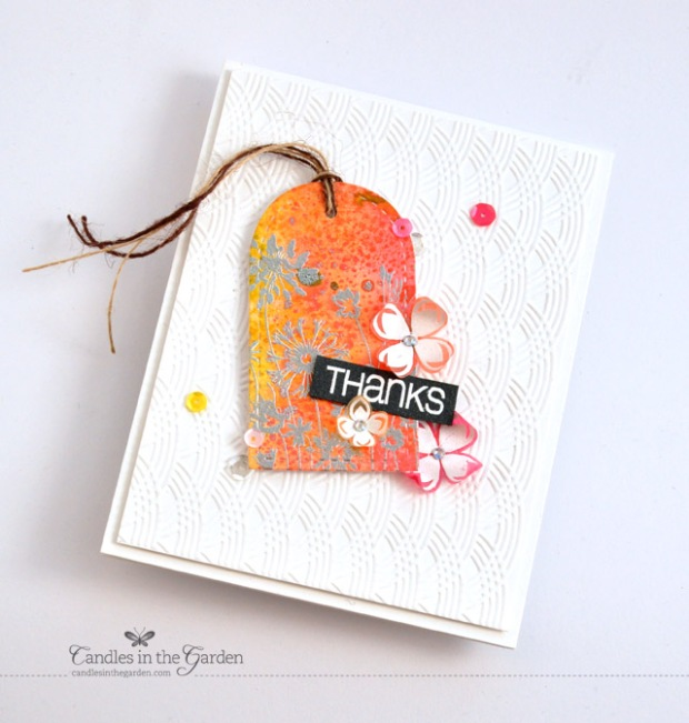 ©Candles in the Garden. CAS-ual Fridays CFC134 - Tic Tac Toe. Sequins + Embossing + Twine.