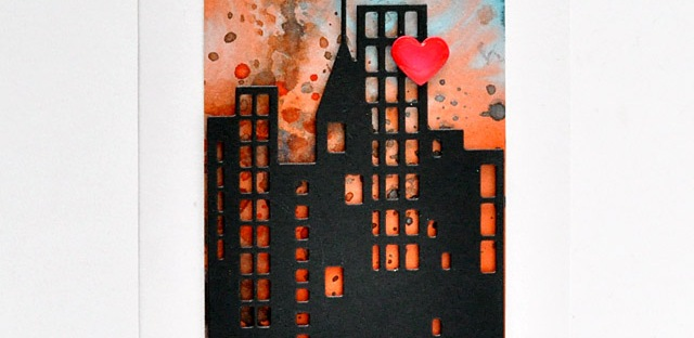 ©Candles in the Garden. RIC76. Distress Ink Background and Penny Black Downtown die-cut.