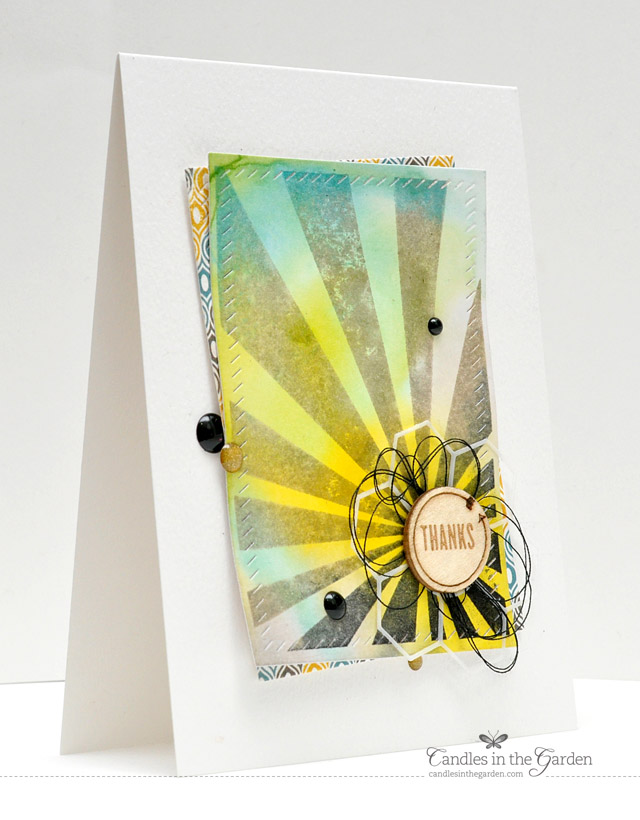 ©Candles in the Garden. RIC77 - Distress Ink Background, Neat and Tangled Sunburst and Doodlebug Sprinkles.