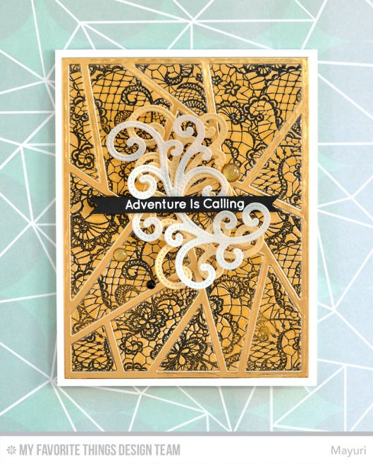 ©Candles in the Garden. MFT June Release Countdown Day 3. Lace Background and Abstract Cover-Up Die-Namics