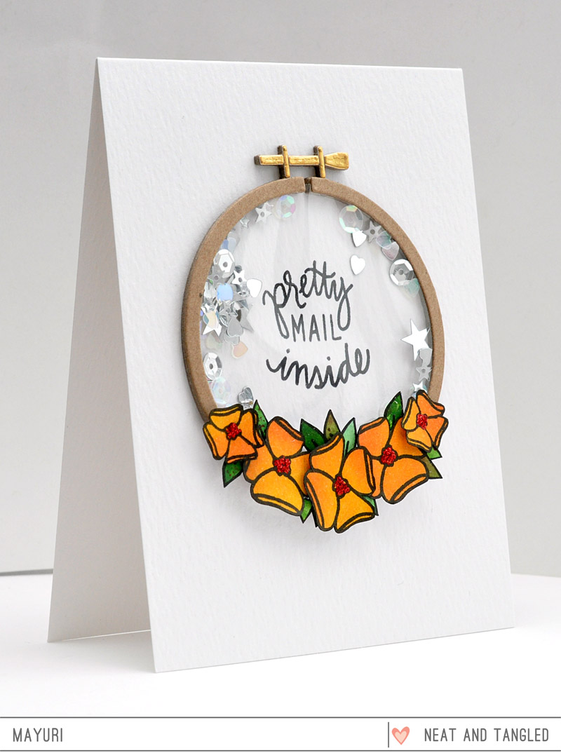 ©Candles in the Garden. Neat and Tangled MAY15 Release - Day 1. Send Pretty Mail shaker card.