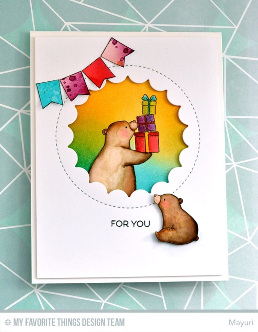 ©Candles in the Garden. MFT July Release Countdown Day 4. Birthday Bears and Jumbo Peek-a-Boo Circle Die-Namics.