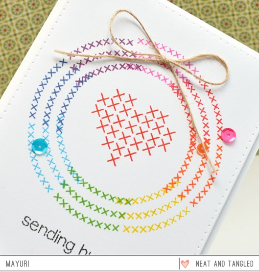 ©Candles in the Garden. Neat and Tangled Monthly Post JUL2015. Cross-Stitched Wreath