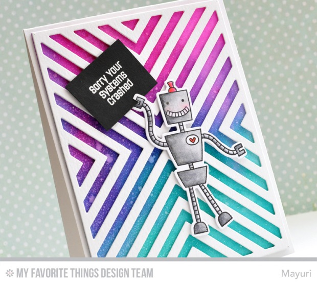 ©Candles in the Garden. MFT August Release Countdown Day 1. Bionic Bots and Four Way Chevron Cover-Up Die-Namics.