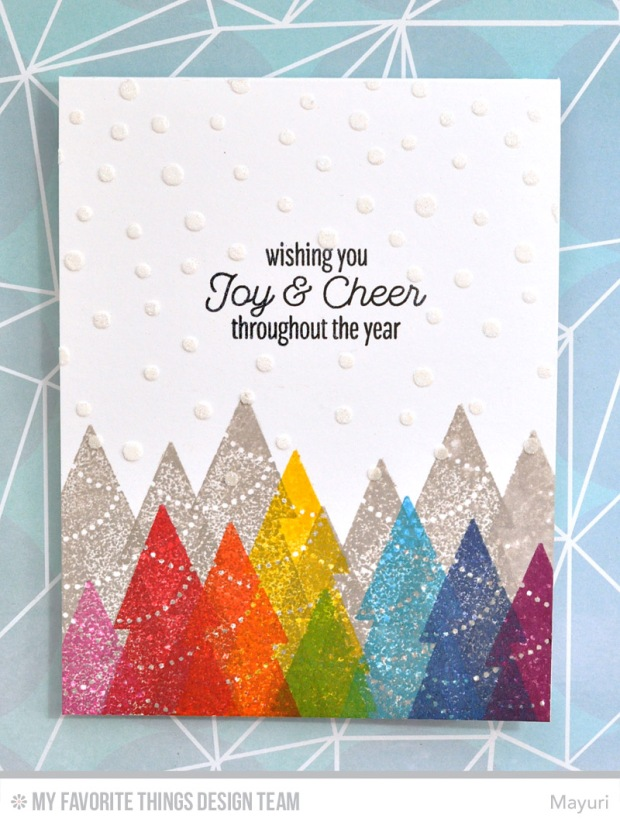©Candles in the Garden. MFT October Release Countdown Day 5. Trim the Tree stamp set and Die-Namics.