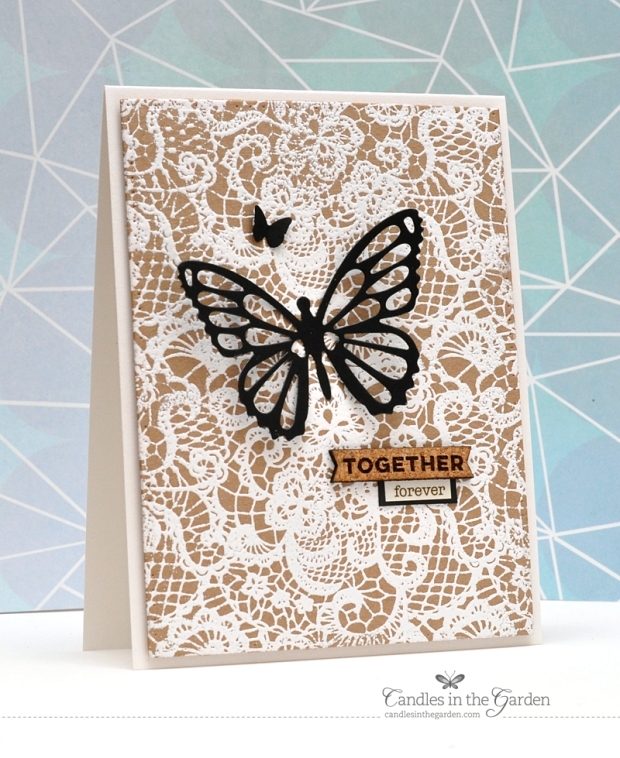 ©Candles in the Garden. RIC94 - MFT Lace Background and Flutter of Butterflies Die-Namics.