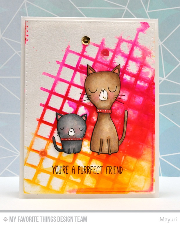 ©Candles in the Garden. MFT November Release - Card 1. Large Grid stencil and Cat-itude stamp set.