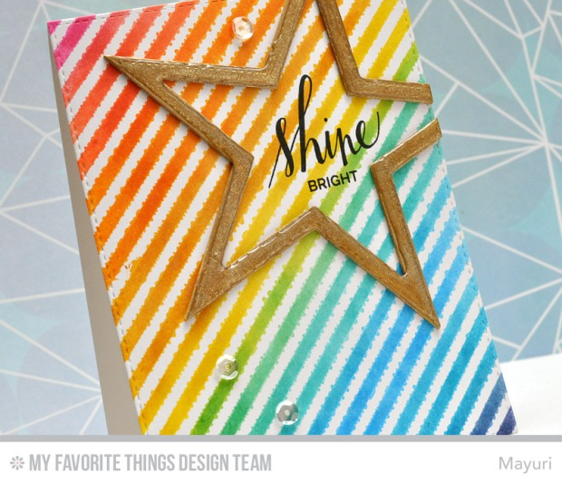 ©Candles in the Garden. MFT November Release - Card 5. Bold Diagonal Stripes Background and Stitched Star STAX.