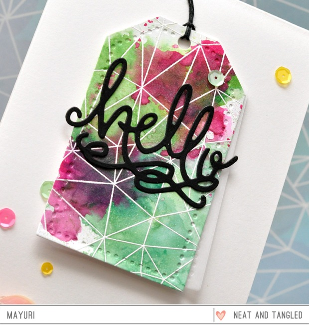 ©Candles in the Garden. January 2016 Neat and Tangled post. Hello There die and Faceted Stamp Set.