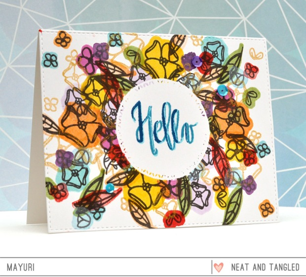 ©Candles in the Garden. January 2016 Neat and Tangled Release. Painted Hello stamp set.
